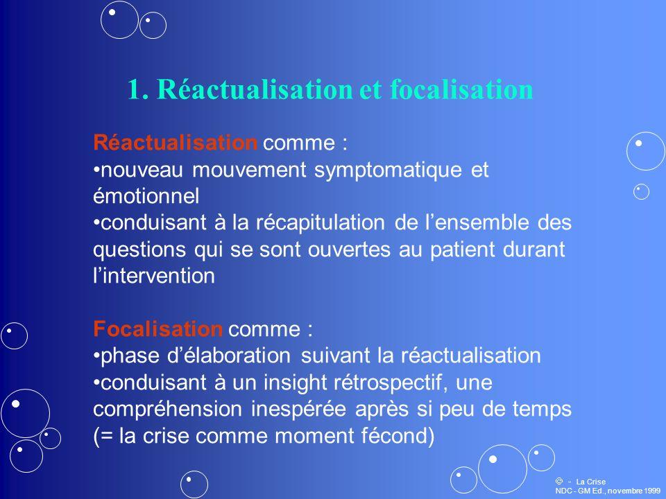 1. Réactualisation et focalisation