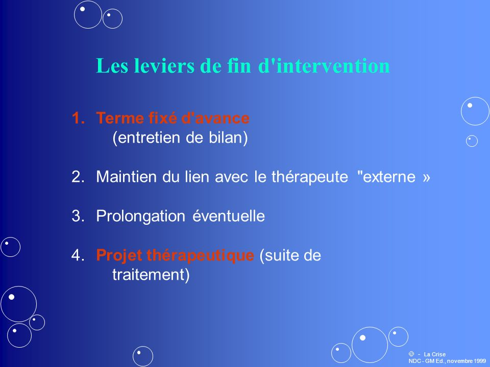 Les leviers de fin d intervention