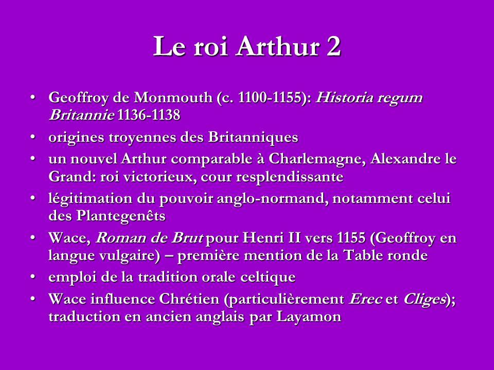 Le roi Arthur 2 Geoffroy de Monmouth (c. 1100-1155): Historia regum Britannie 1136-1138. origines troyennes des Britanniques.