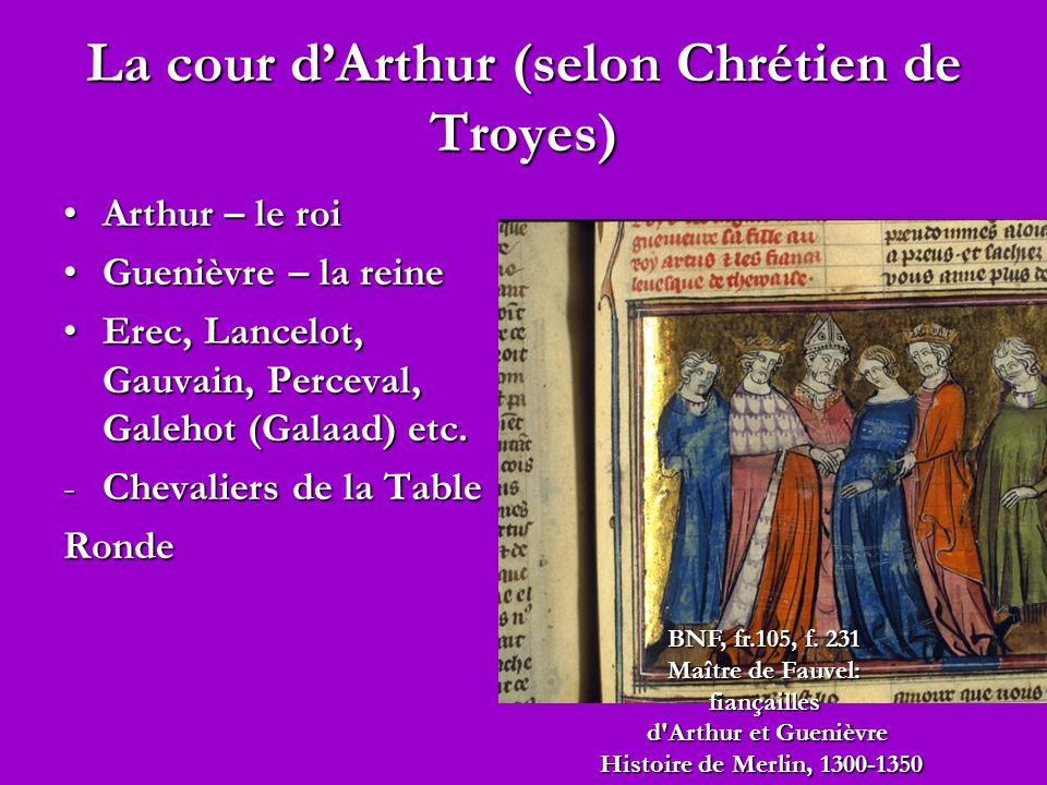 La cour d'Arthur (selon Chrétien de Troyes)