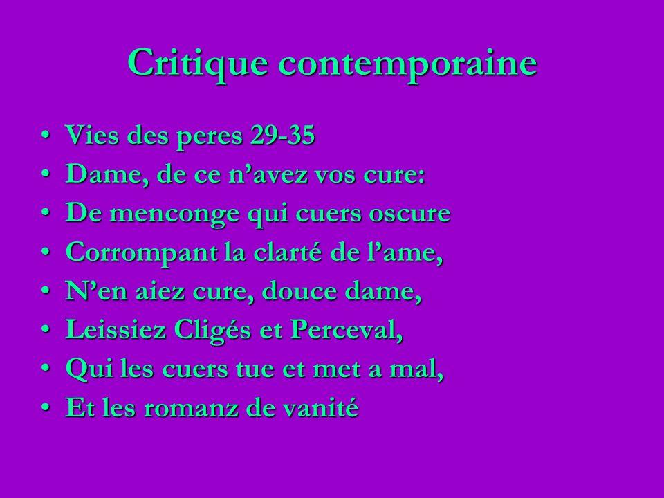 Critique contemporaine