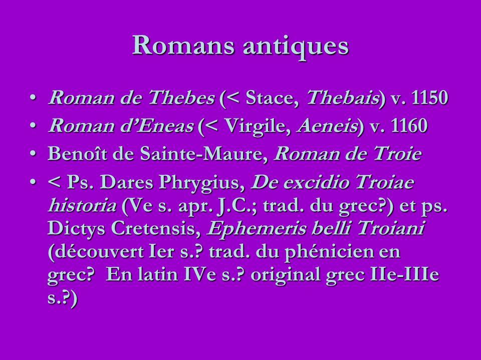 Romans antiques Roman de Thebes (< Stace, Thebais) v. 1150