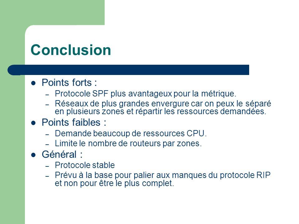 Conclusion Points forts : Points faibles : Général :