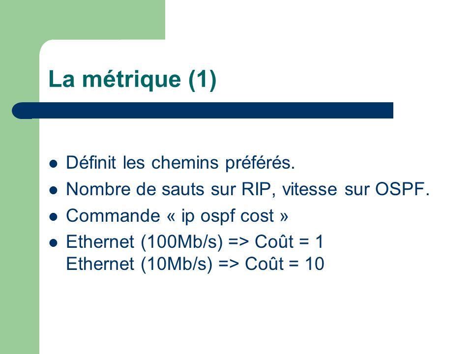 La métrique (1) Définit les chemins préférés.
