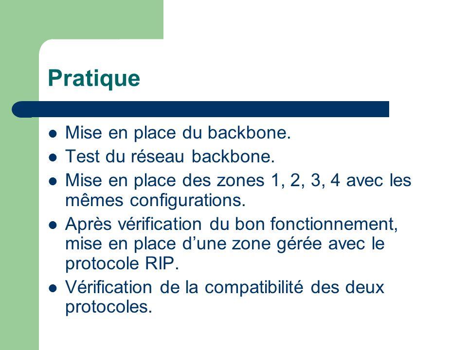 Pratique Mise en place du backbone. Test du réseau backbone.