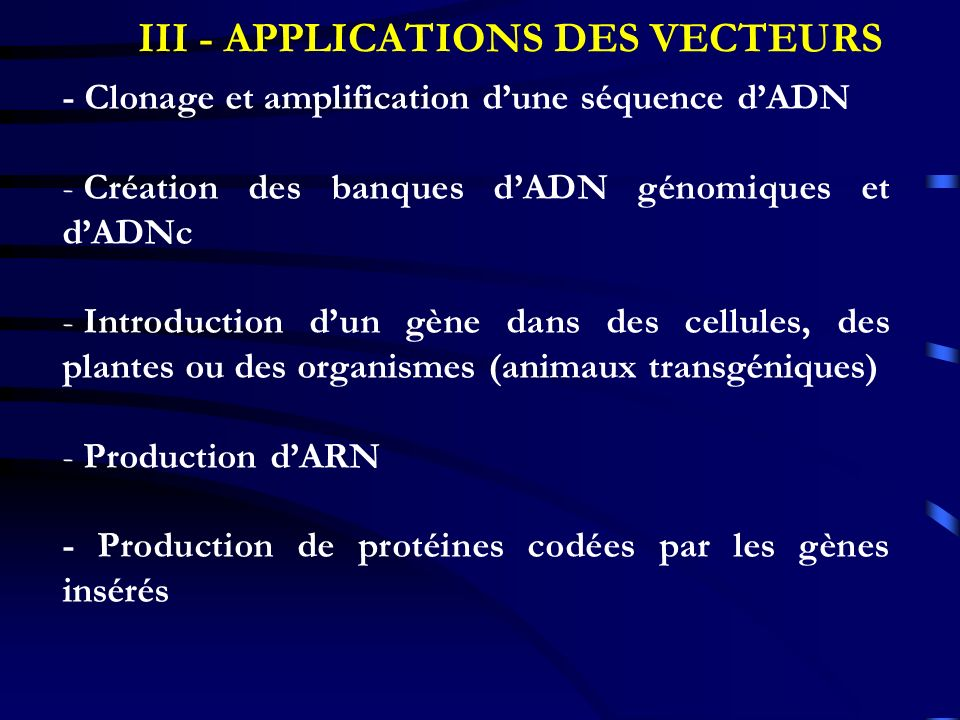 III - APPLICATIONS DES VECTEURS