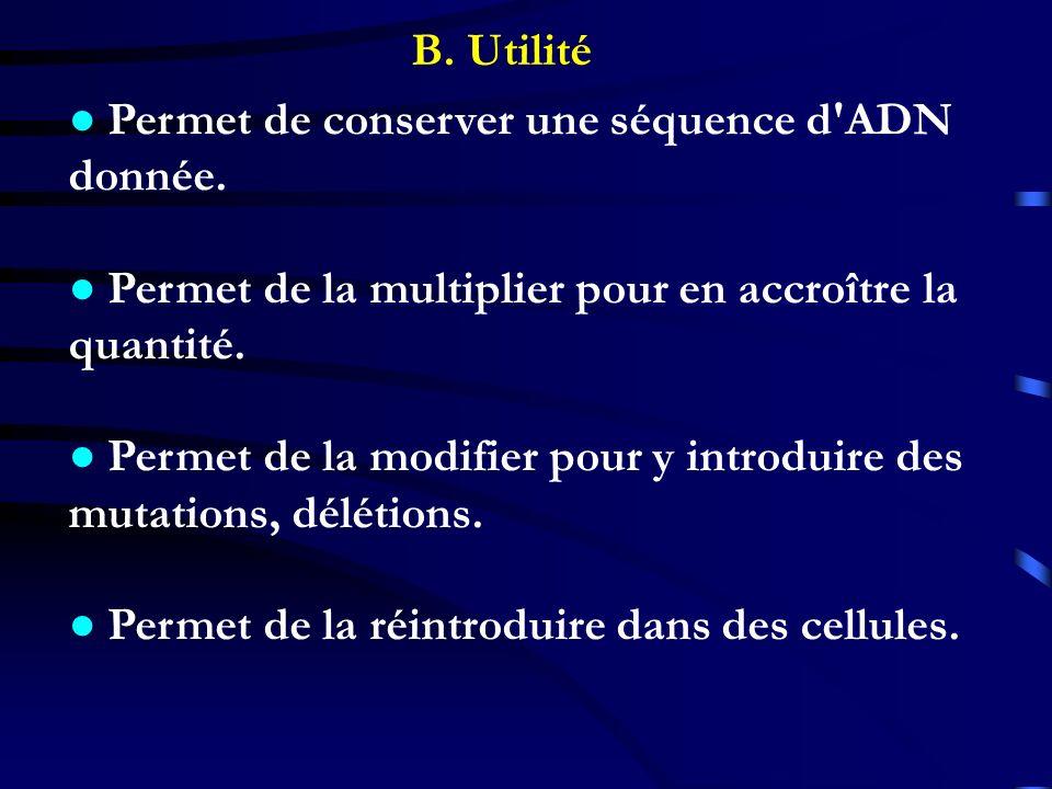 B. Utilité ● Permet de conserver une séquence d ADN. donnée. ● Permet de la multiplier pour en accroître la.