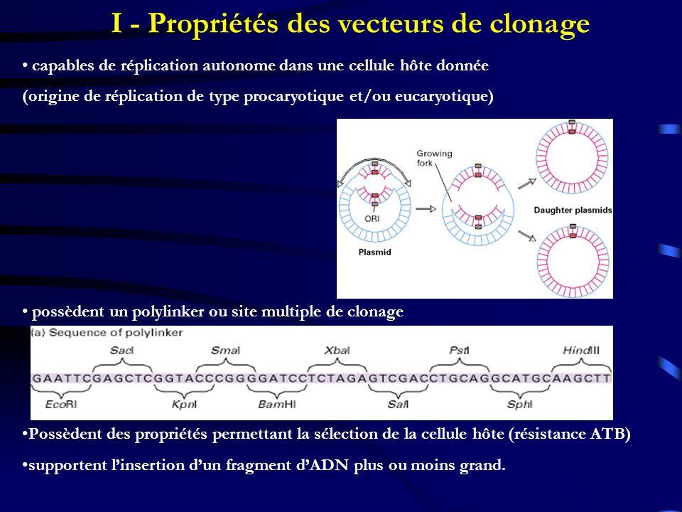 I - Propriétés des vecteurs de clonage