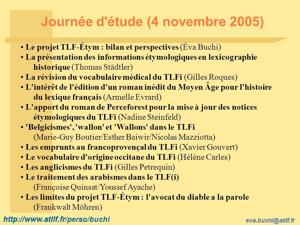 Journée d étude (4 novembre 2005)