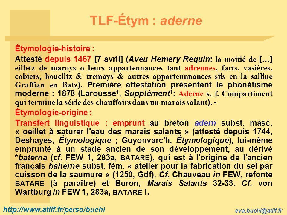 TLF-Étym : aderne Étymologie-histoire :