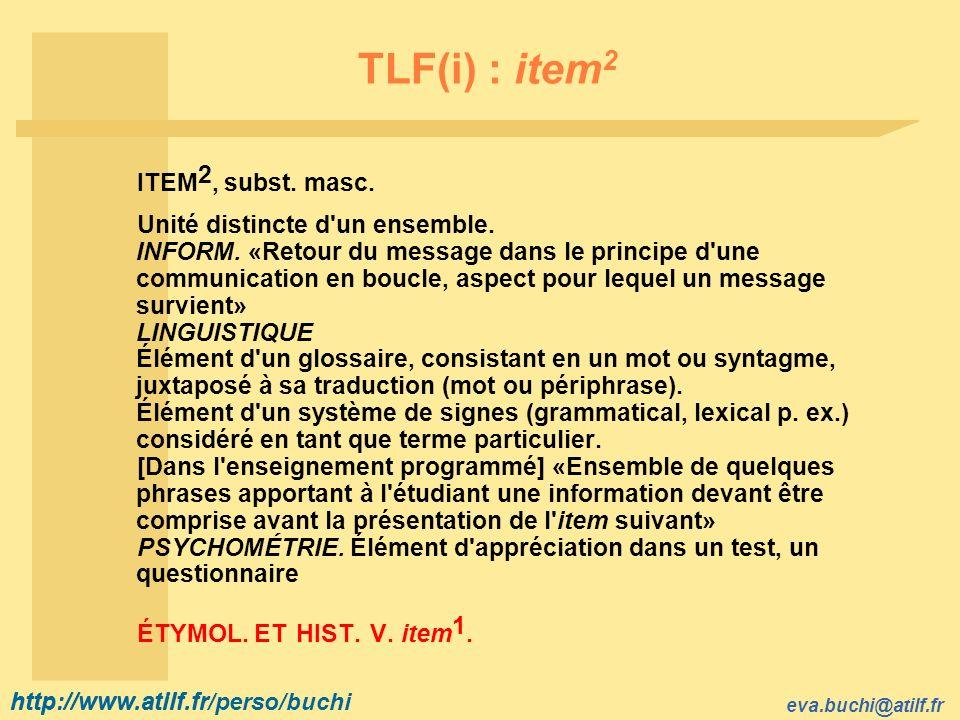 TLF(i) : item2 ITEM2, subst. masc.
