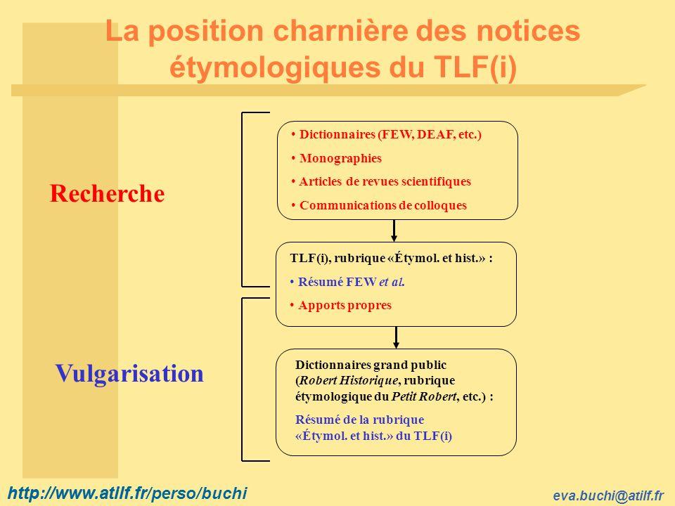 La position charnière des notices étymologiques du TLF(i)