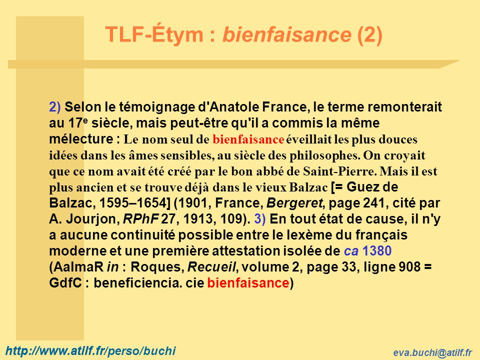 TLF-Étym : bienfaisance (2)