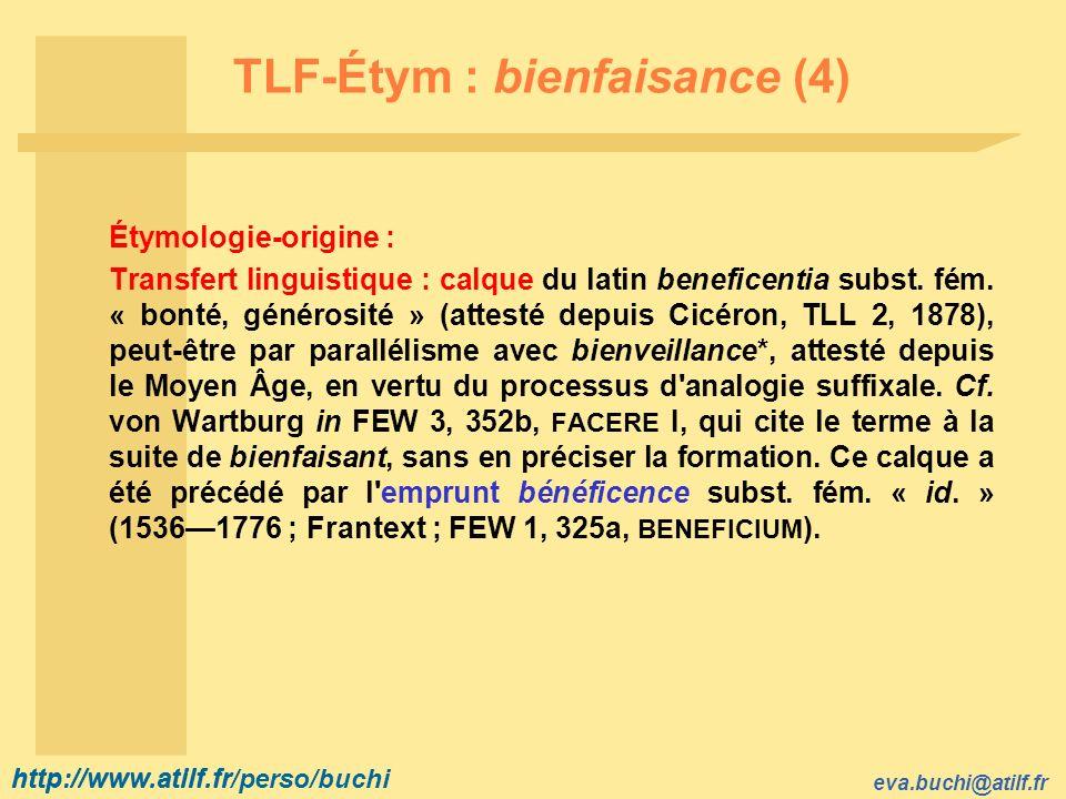 TLF-Étym : bienfaisance (4)