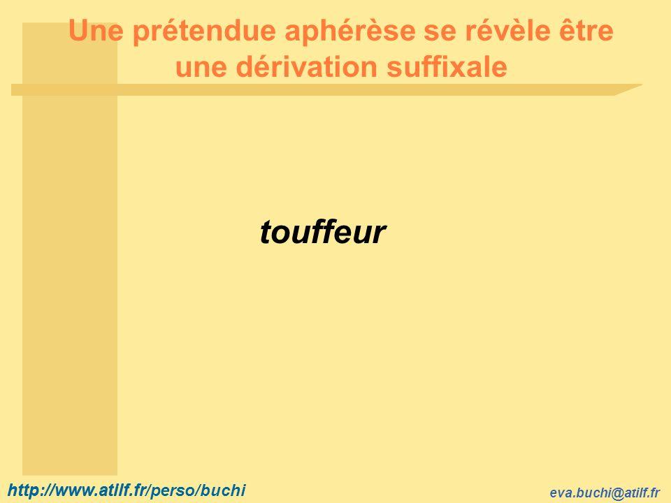 Une prétendue aphérèse se révèle être une dérivation suffixale