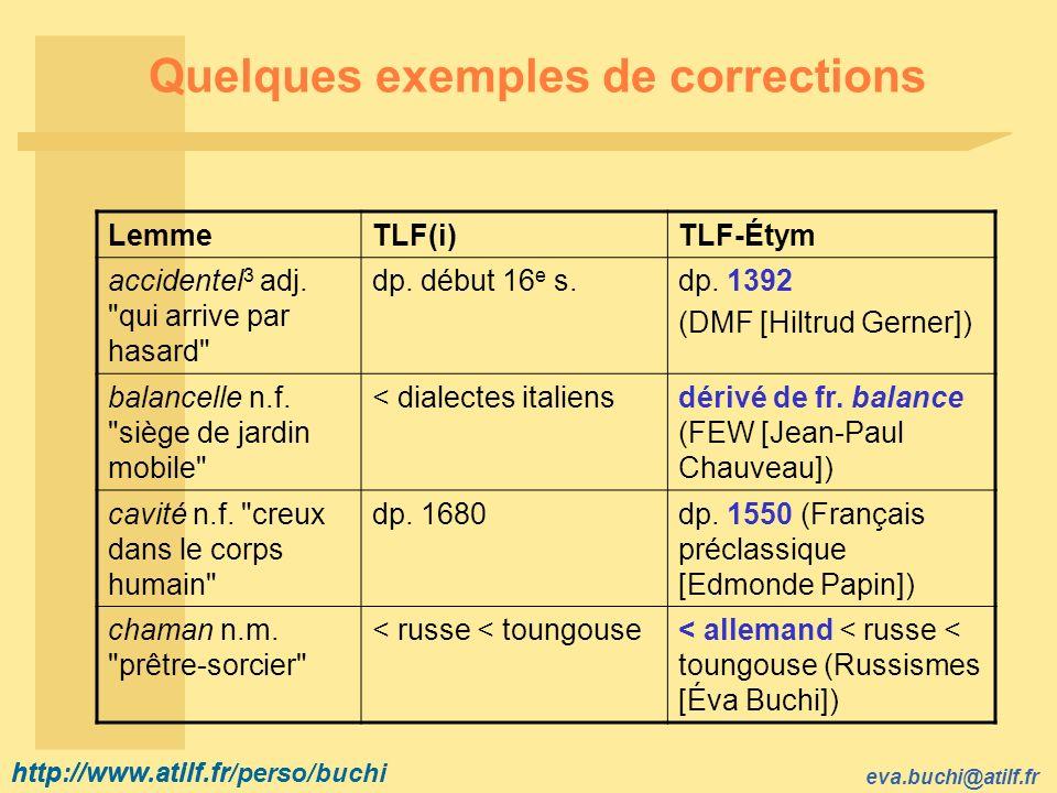 Quelques exemples de corrections