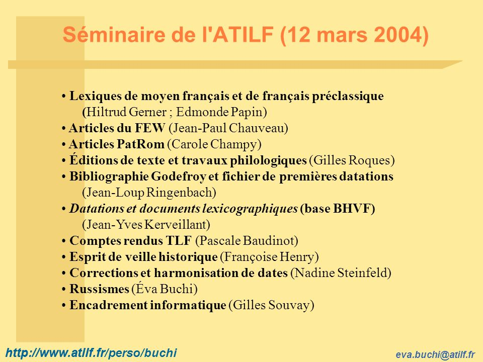 Séminaire de l ATILF (12 mars 2004)