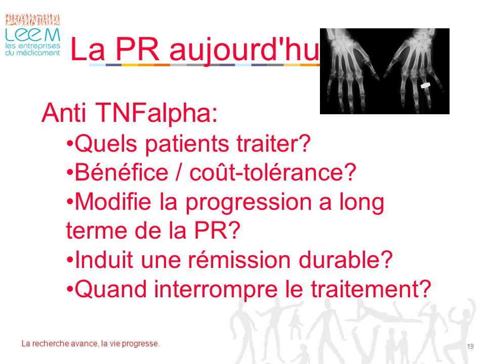 La PR aujourd hui Anti TNFalpha: Quels patients traiter
