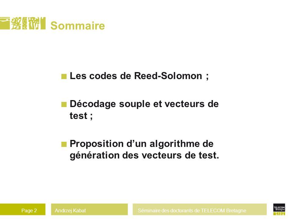 Sommaire Les codes de Reed-Solomon ;