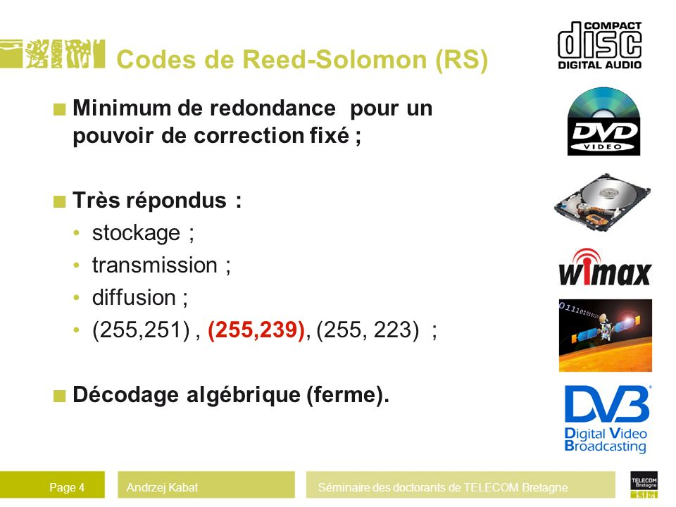Codes de Reed-Solomon (RS)