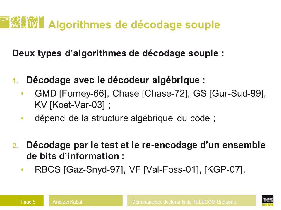 Algorithmes de décodage souple