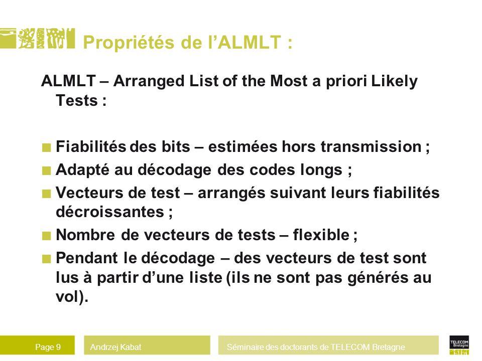 Propriétés de l'ALMLT :