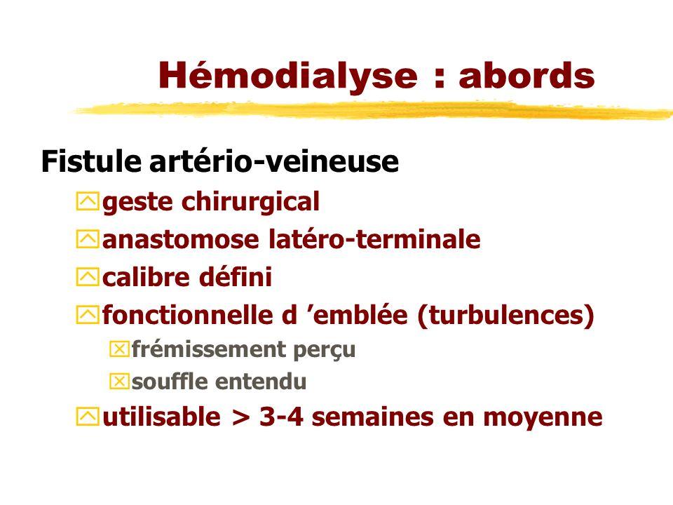 Hémodialyse : abords Fistule artério-veineuse geste chirurgical