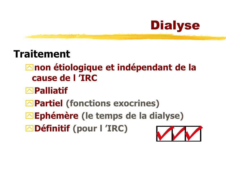 Dialyse Traitement. non étiologique et indépendant de la cause de l 'IRC. Palliatif. Partiel (fonctions exocrines)