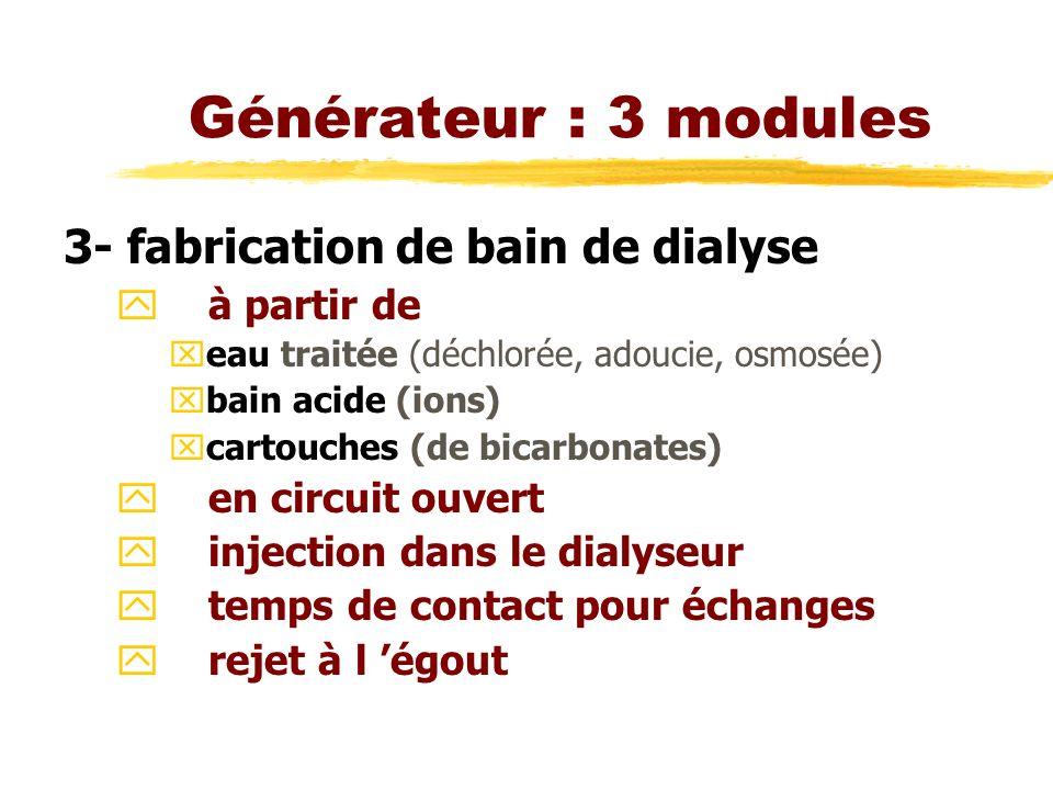 Générateur : 3 modules 3- fabrication de bain de dialyse à partir de