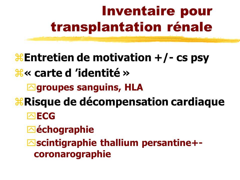Inventaire pour transplantation rénale