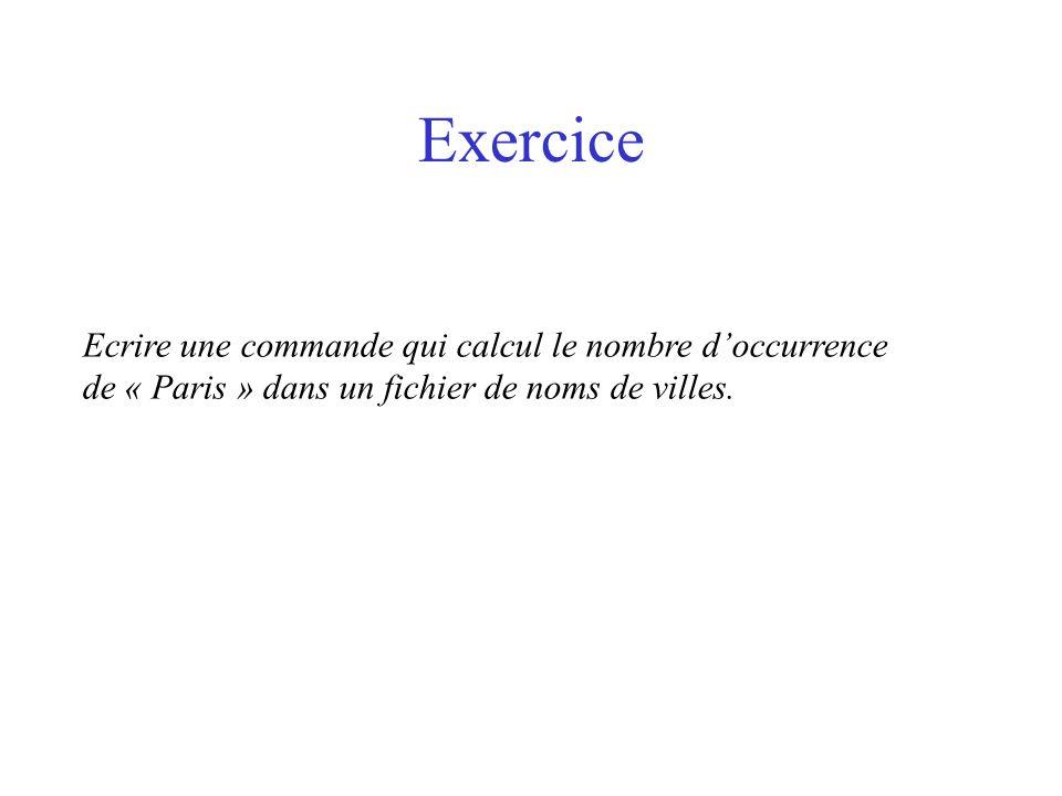 Exercice Ecrire une commande qui calcul le nombre d'occurrence