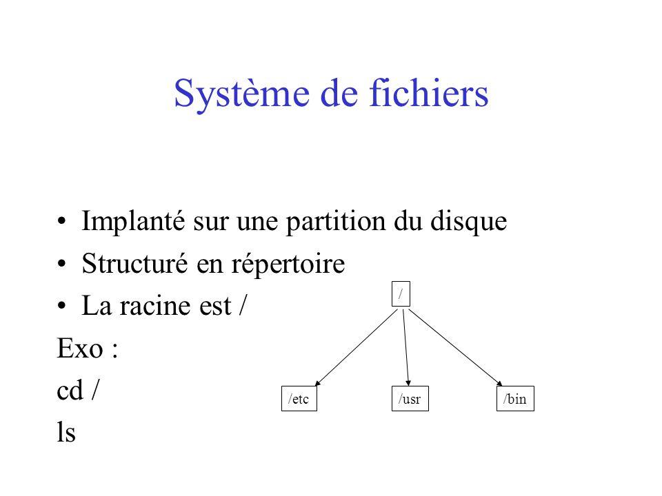 Système de fichiers Implanté sur une partition du disque