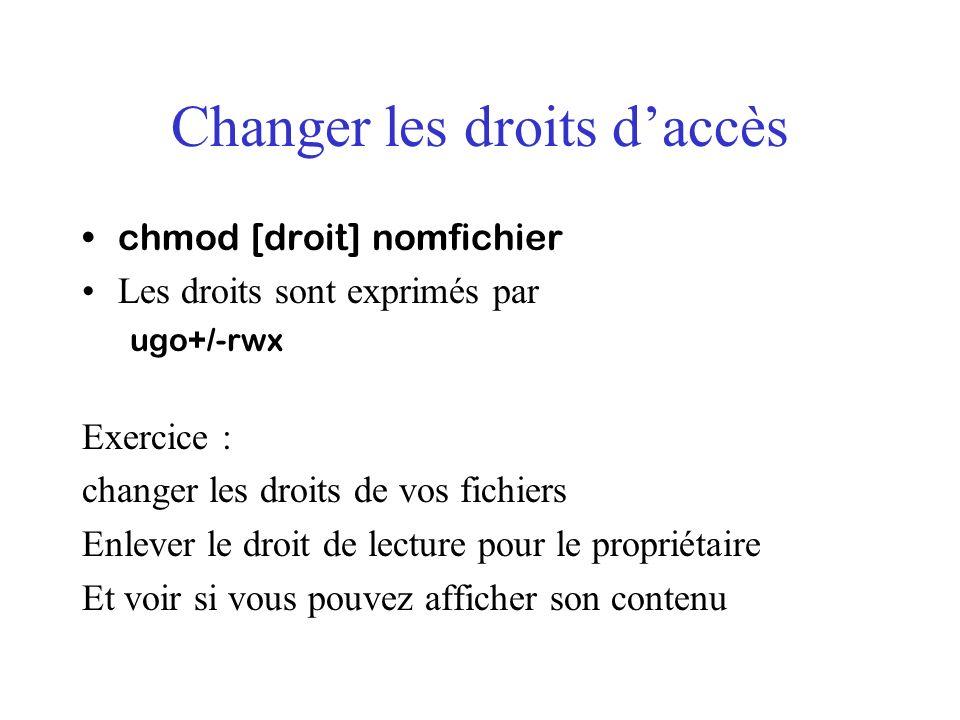 Changer les droits d'accès