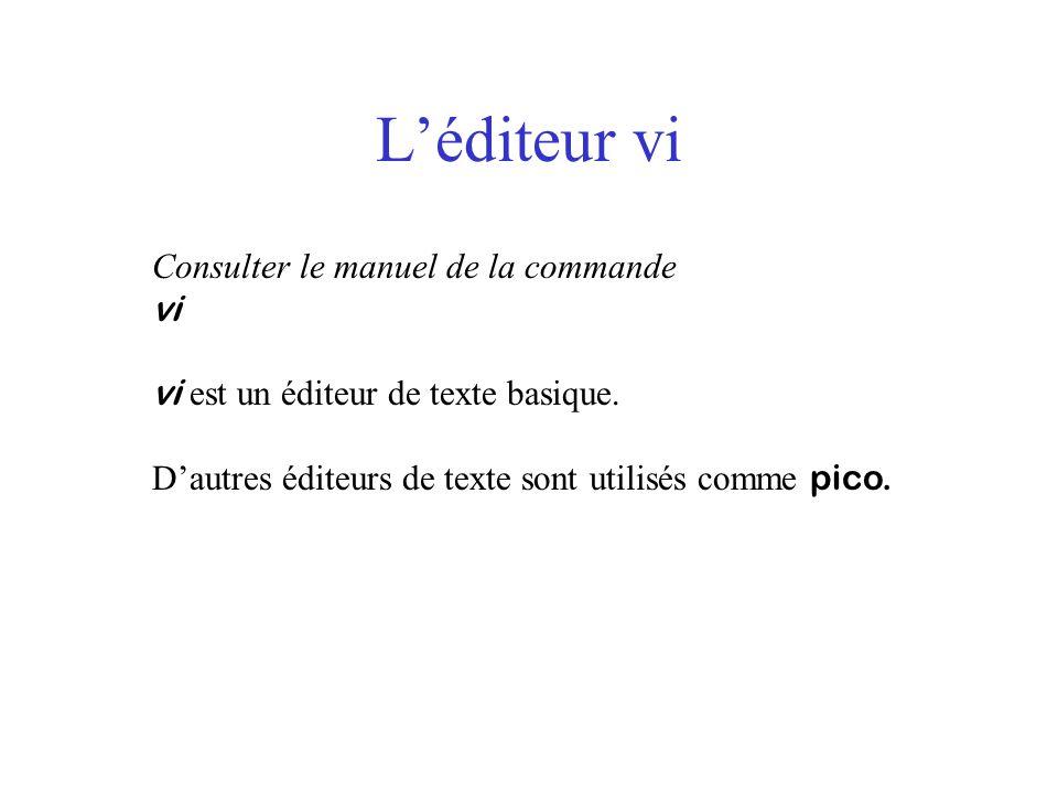 L'éditeur vi Consulter le manuel de la commande vi