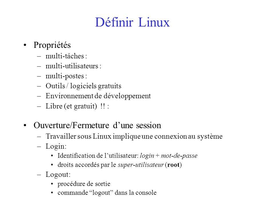Définir Linux Propriétés Ouverture/Fermeture d'une session