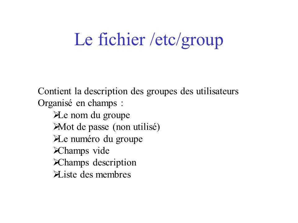 Le fichier /etc/group Contient la description des groupes des utilisateurs. Organisé en champs : Le nom du groupe.