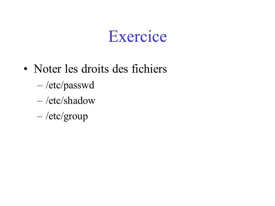 Exercice Noter les droits des fichiers /etc/passwd /etc/shadow