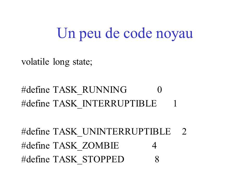 Un peu de code noyau volatile long state; #define TASK_RUNNING 0