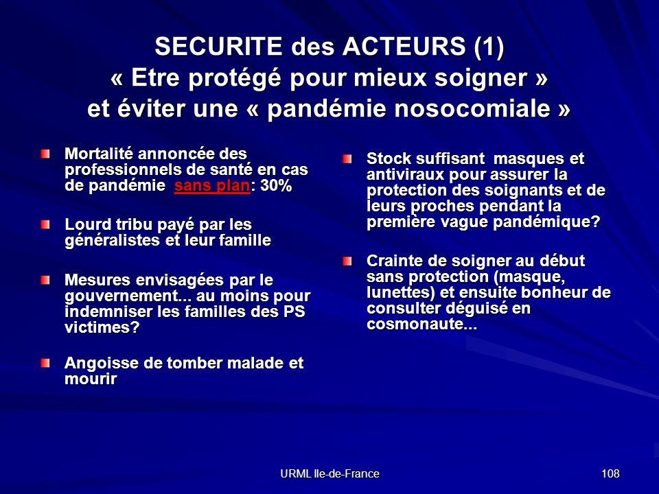 SECURITE des ACTEURS (1) « Etre protégé pour mieux soigner » et éviter une « pandémie nosocomiale »
