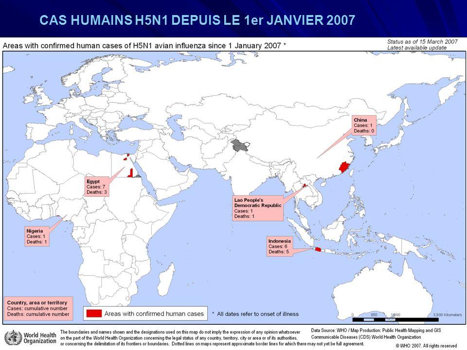 CAS HUMAINS H5N1 DEPUIS LE 1er JANVIER 2007
