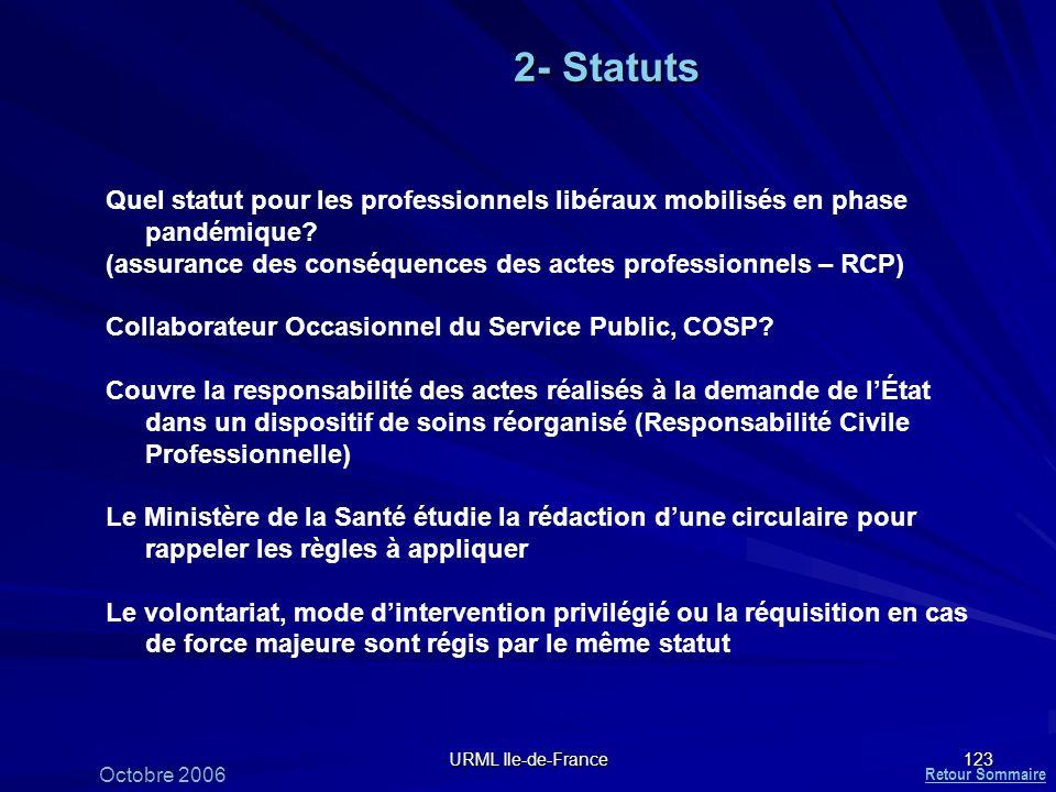 2- Statuts Quel statut pour les professionnels libéraux mobilisés en phase pandémique (assurance des conséquences des actes professionnels – RCP)