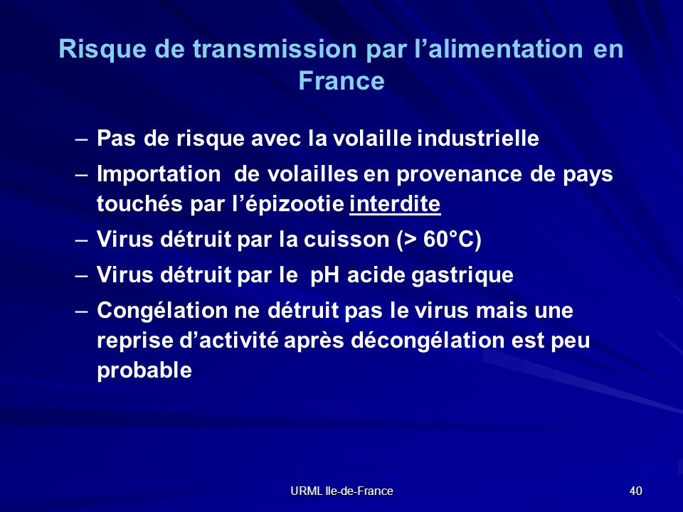 Risque de transmission par l'alimentation en France