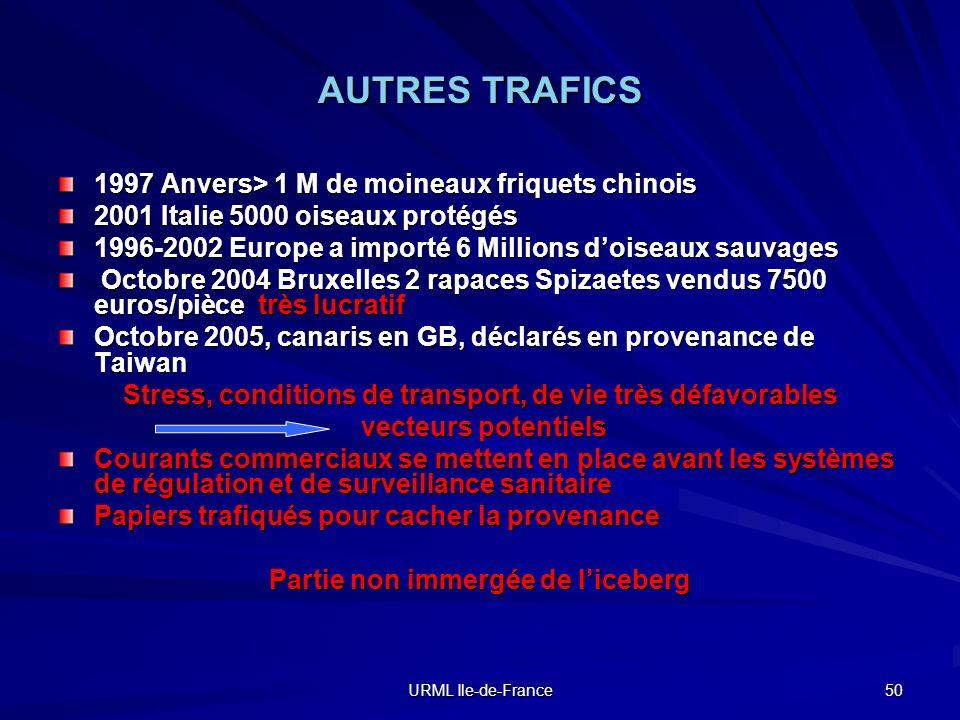 AUTRES TRAFICS 1997 Anvers> 1 M de moineaux friquets chinois