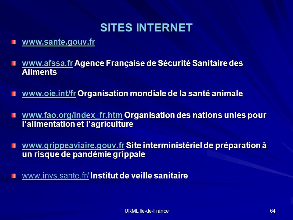 SITES INTERNET www.sante.gouv.fr
