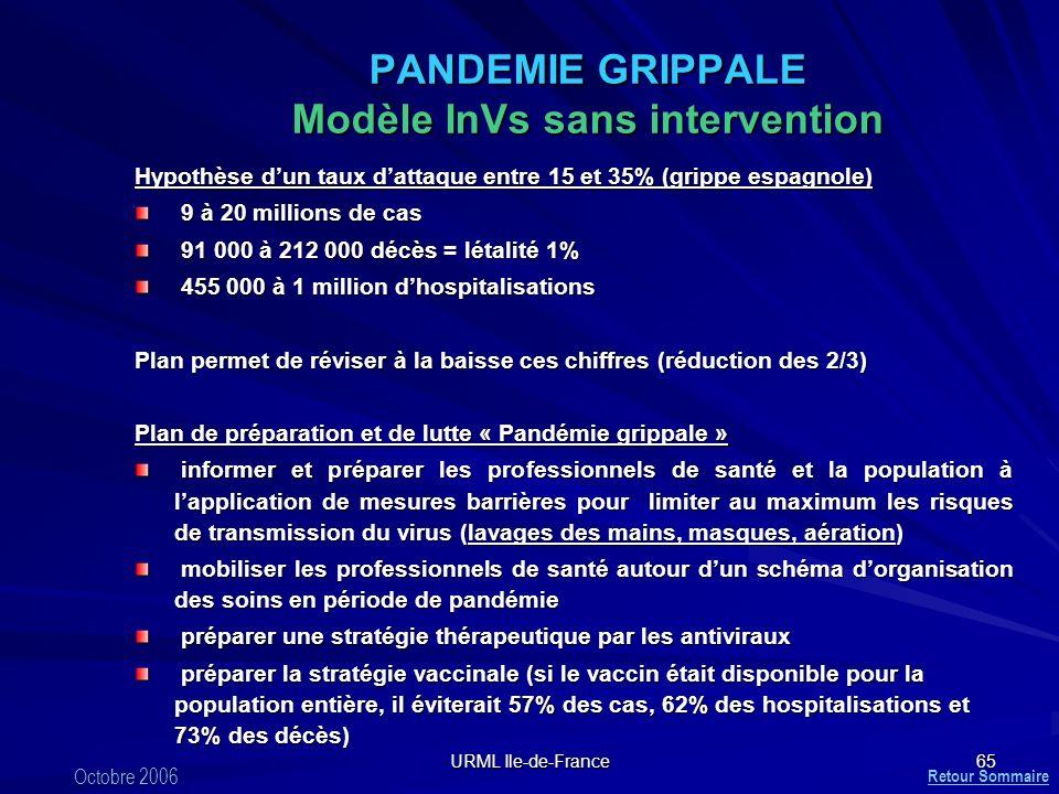 PANDEMIE GRIPPALE Modèle InVs sans intervention