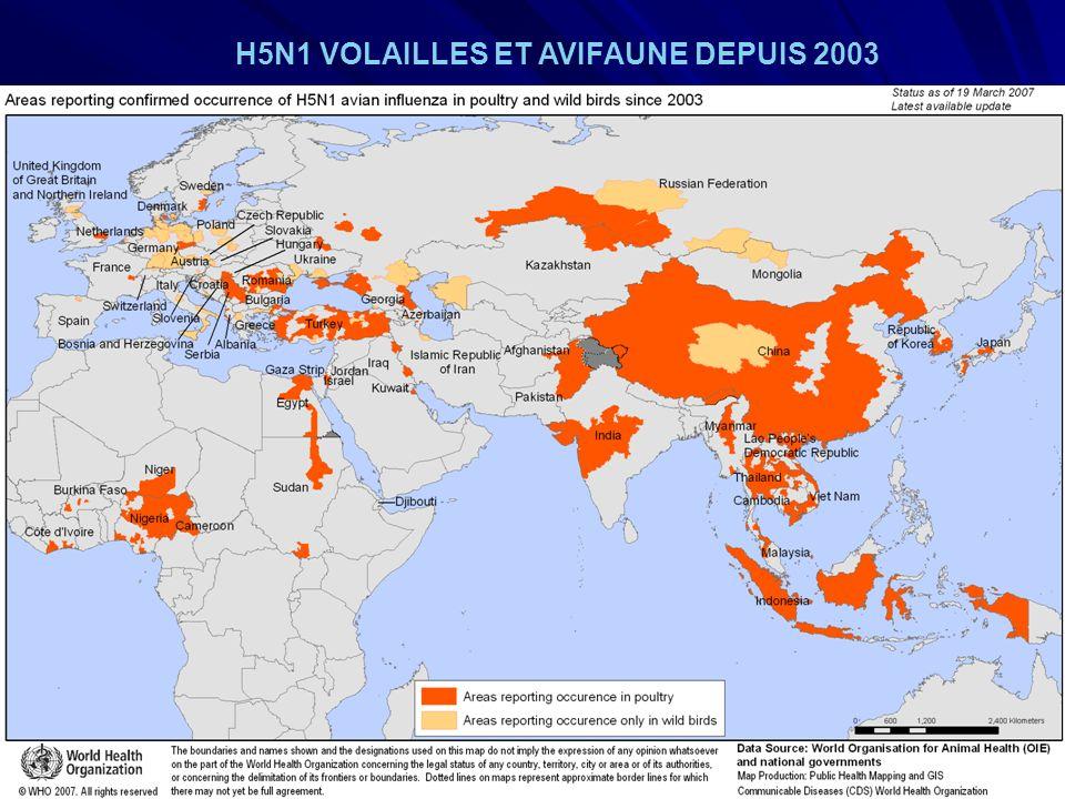H5N1 VOLAILLES ET AVIFAUNE DEPUIS 2003