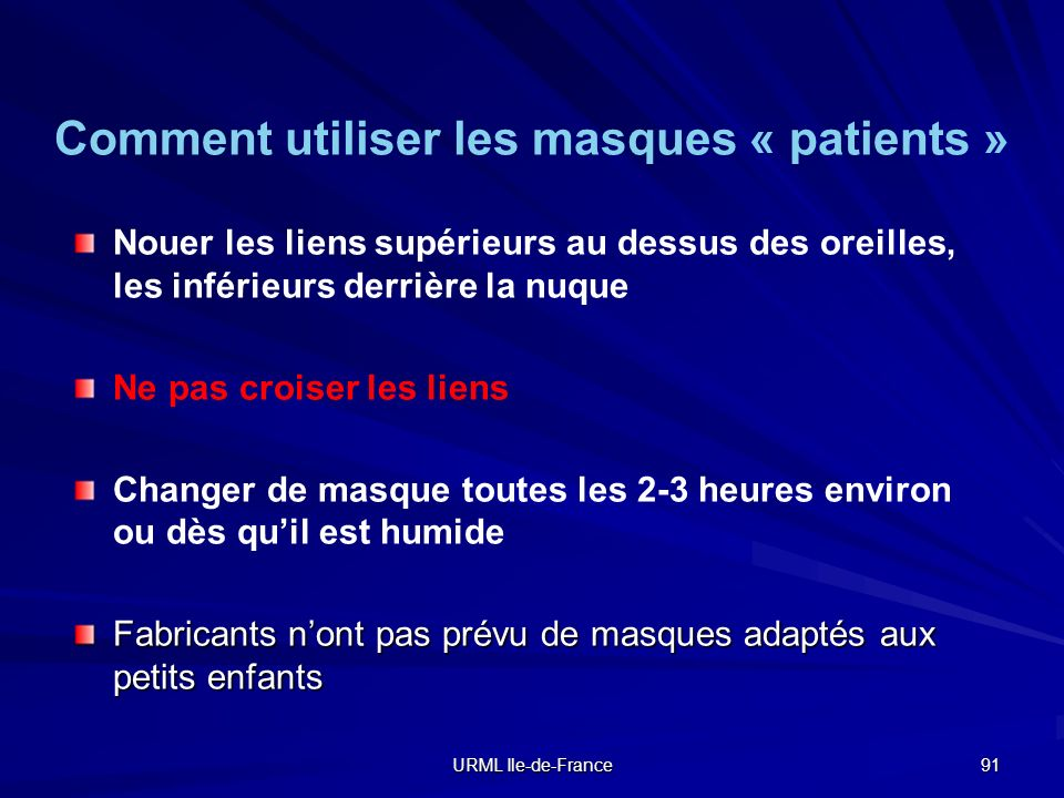 Comment utiliser les masques « patients »