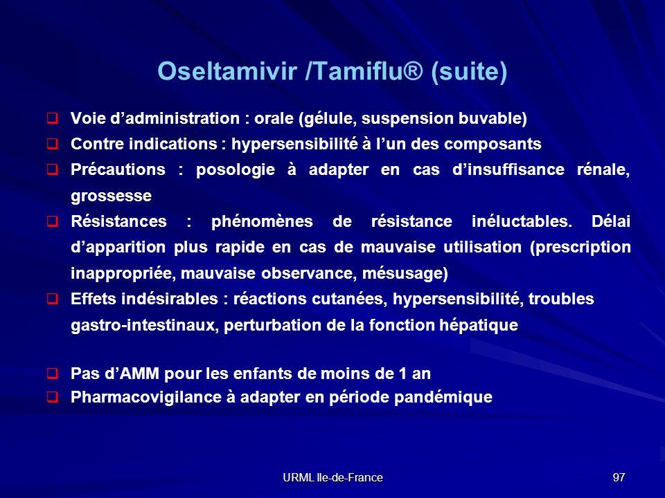 Oseltamivir /Tamiflu® (suite)