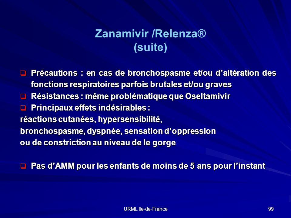 Zanamivir /Relenza® (suite)