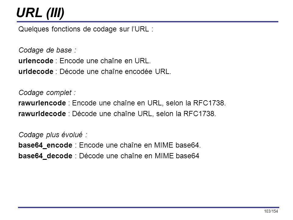 URL (III) Quelques fonctions de codage sur l'URL : Codage de base :